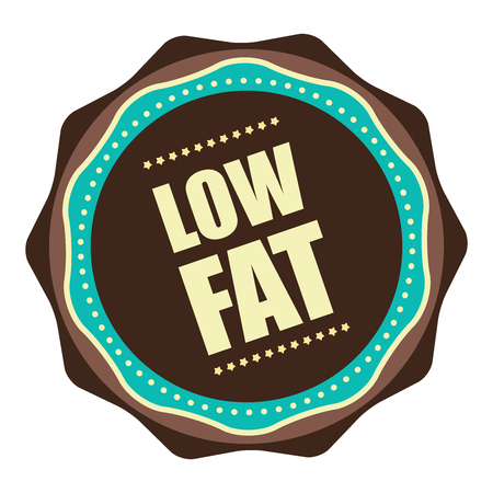 nonfat: Brown Vintage Low Fat Icon, Badge, Sticker or Label Isolated on White Background Stock Photo