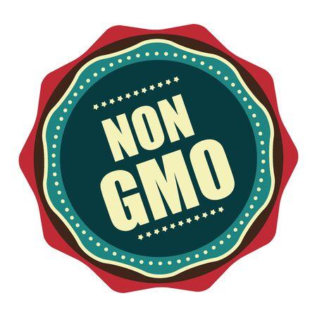 non: Blue Vintage Non GMO Icon, Badge, Sticker or Label Isolated on White Background Stock Photo