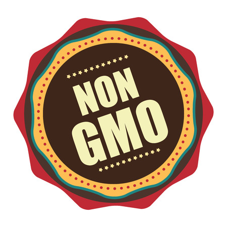 Red Vintage Non GMO Icon, Badge, Sticker or Label Isolated on White Background