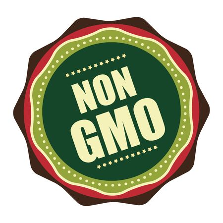 non vegetarian: Green Vintage Non GMO Icon, Badge, Sticker or Label Isolated on White Background Stock Photo