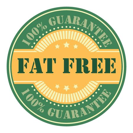 low cal: Green Circle Vintage Fat Free Icon, Badge, Sticker or Label Isolated on White Background
