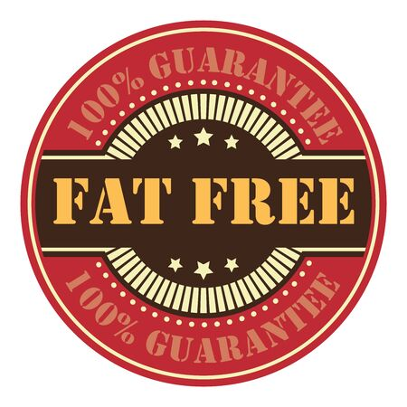 low cal: Red Circle Vintage Fat Free Icon, Badge, Sticker or Label Isolated on White Background