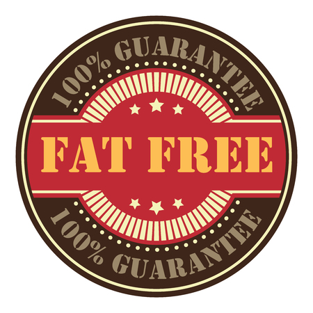 low cal: Brown Circle Vintage Fat Free Icon, Badge, Sticker or Label Isolated on White Background