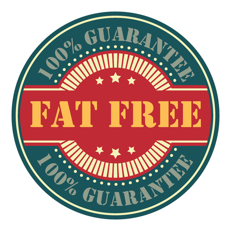 low cal: Blue Circle Vintage Fat Free Icon, Badge, Sticker or Label Isolated on White Background Stock Photo