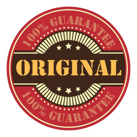 certificated: Red Circle Vintage Original 100 Guarantee Icon, Badge, Sticker or Label Isolated on White Background