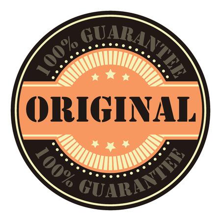 Circle Vintage Original 100 Guarantee Icon, Badge, Sticker or Label Isolated on White Background