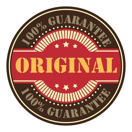 Black Circle Vintage Original 100 Guarantee Icon, Badge, Sticker or Label Isolated on White Background