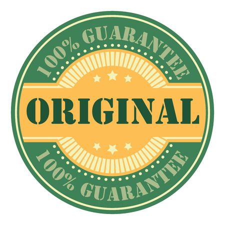 Green Circle Vintage Original 100 Guarantee Icon, Badge, Sticker or Label Isolated on White Background