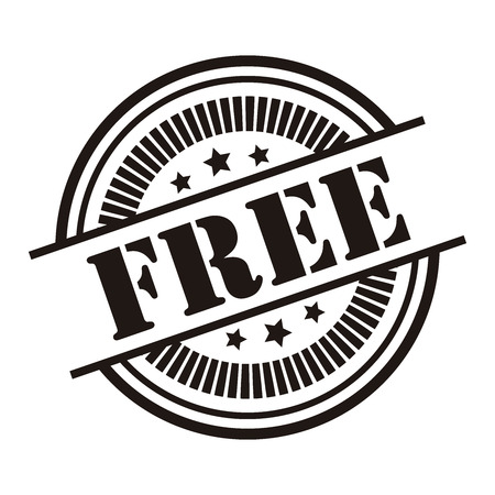 Black Free Icon,Sticker or Label Isolated on White Background