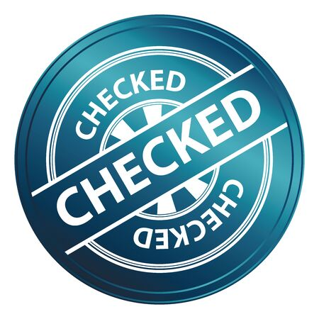 qc: Blue Metallic Style Checked Icon, Badge, Label or Sticker for Quality Management Systems, Quality Assurance and Quality Control Concept Isolated on White Background