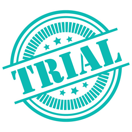 Blue Trial Icon,Sticker or Label Isolated on White Background