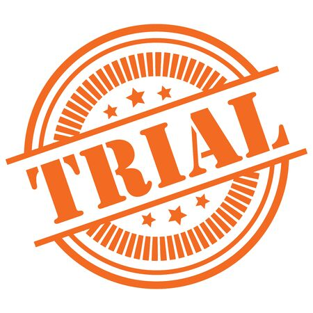 Orange Trial Icon,Sticker or Label Isolated on White Background
