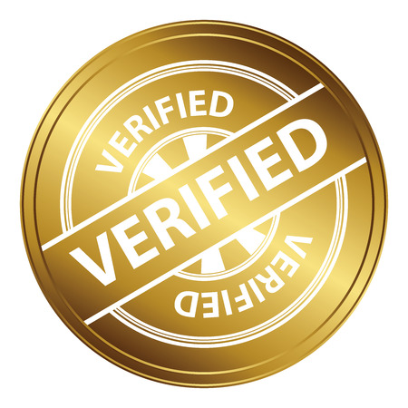 Gold Metallic Style Verified Icon, Badge, Label or Sticker for Quality Management Systems, Quality Assurance and Quality Control Concept Isolated on White Background Reklamní fotografie