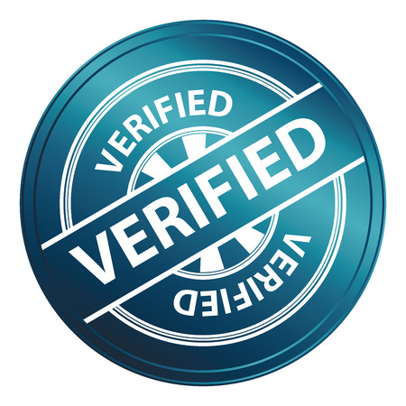 verified: Blue Metallic Style Verified Icon, Badge, Label or Sticker for Quality Management Systems, Quality Assurance and Quality Control Concept Isolated on White Background Stock Photo