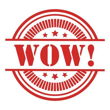 wow: Red WOW Icon, pegatina o etiqueta de aislados en fondo blanco