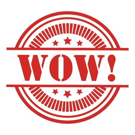 wow: Red WOW Icon,Sticker or Label Isolated on White Background
