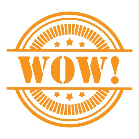 Orange WOW Icon,Sticker or Label Isolated on White Background