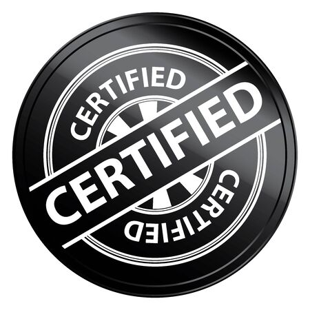 Black Metallic Style Certified Icon, Badge, Label or Sticker for Quality Management Systems, Quality Assurance and Quality Control Concept Isolated on White Background