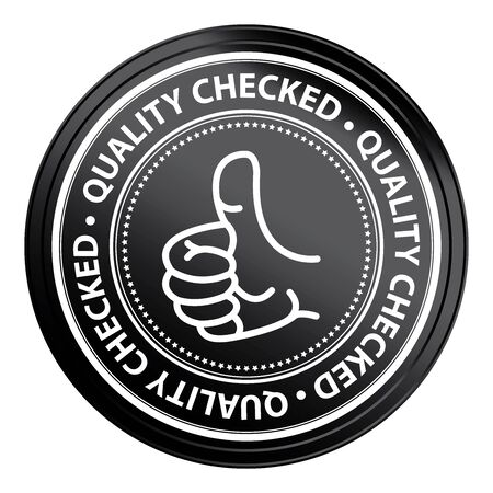 qc: Black Metallic Style Quality Checked Icon, Badge, Label or Sticker for Quality Management Systems, Quality Assurance and Quality Control Concept Isolated on White Background