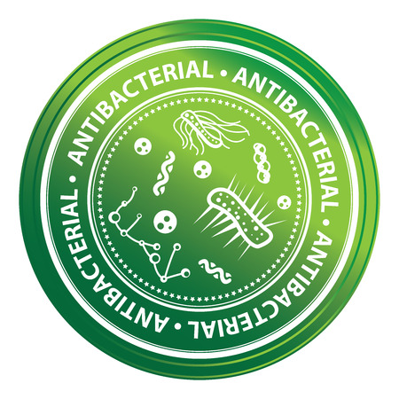 antibacterial: Green Metallic Style Antibacterial Icon, Badge, Label or Sticker for Business, Healthcare, Medical or Wellness Concept Isolated on White Background Stock Photo