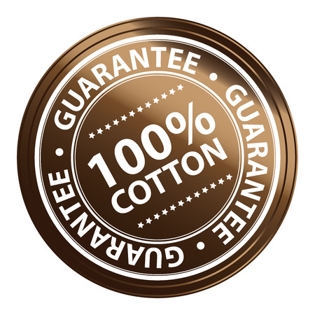Brown Metallic Style 100 Percent Cotton Guarantee Sticker, Stamp, Icon, Tag or Label Isolated on White Background