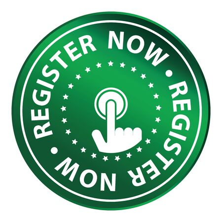 Green Circle Metallic Register Now Icon,Sticker or Label Isolated on White Background
