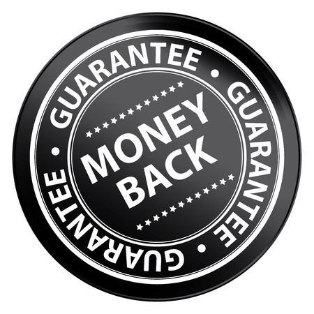 Black Circle Money Back Guarantee Icon,Sticker or Label Isolated on White Background