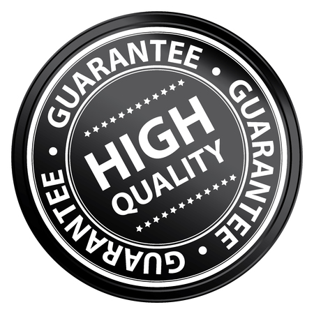Black Metallic Style High Quality Guarantee Sticker, Stamp, Icon, Tag or Label Isolated on White Background