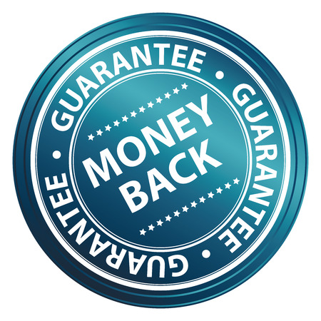 Blue Circle Money Back Guarantee Icon,Sticker or Label Isolated on White Background Reklamní fotografie