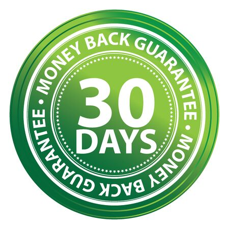 Green Circle 30 Days Money Back Guarantee Icon,Sticker or Label Isolated on White Background