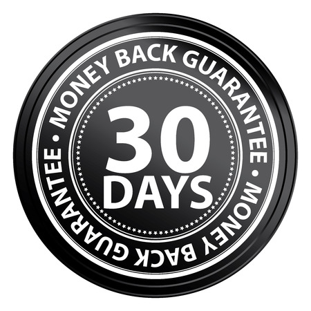 Black Circle 30 Days Money Back Guarantee Icon,Sticker or Label Isolated on White Background