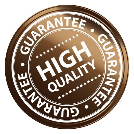Brown Metallic Style High Quality Guarantee Sticker, Stamp, Icon, Tag or Label Isolated on White Background
