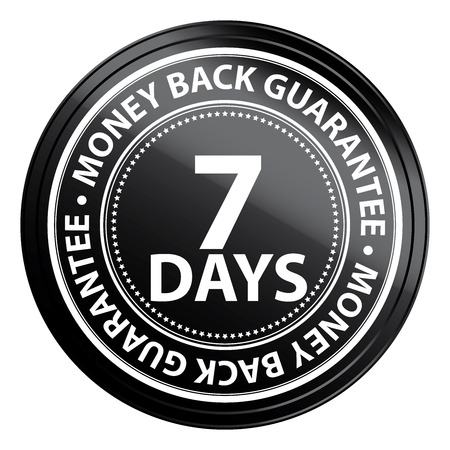 Black Circle 7 Days Money Back Guarantee Icon,Sticker or Label Isolated on White Background