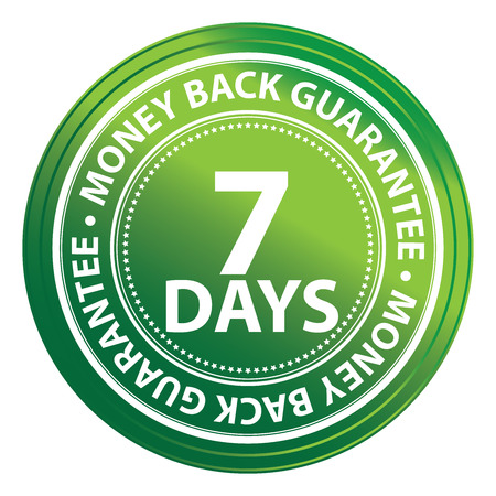 Green Circle 7 Days Money Back Guarantee Icon,Sticker or Label Isolated on White Background Reklamní fotografie