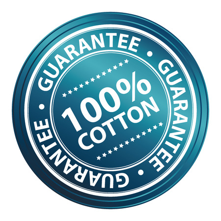 Blue Metallic Style 100 Percent Cotton Guarantee Sticker, Stamp, Icon, Tag or Label Isolated on White Background