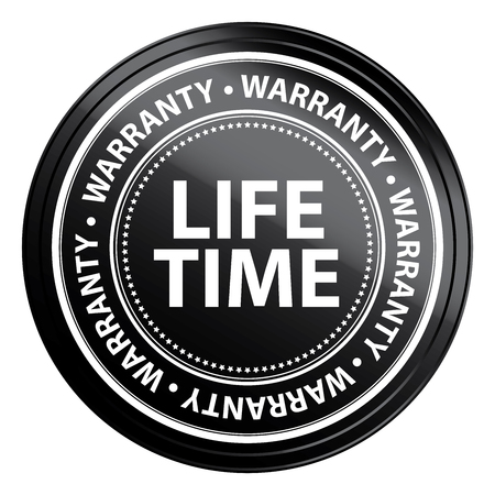 certify: Black Metallic Life Time Warranty Shield, Label, Sticker, Banner, Sign or Icon Isolated on White Background
