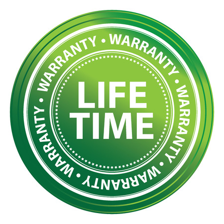 Green Metallic Life Time Warranty Shield, Label, Sticker, Banner, Sign or Icon Isolated on White Background