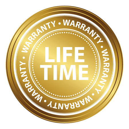 Gold Metallic Life Time Warranty Shield, Label, Sticker, Banner, Sign or Icon Isolated on White Background Reklamní fotografie