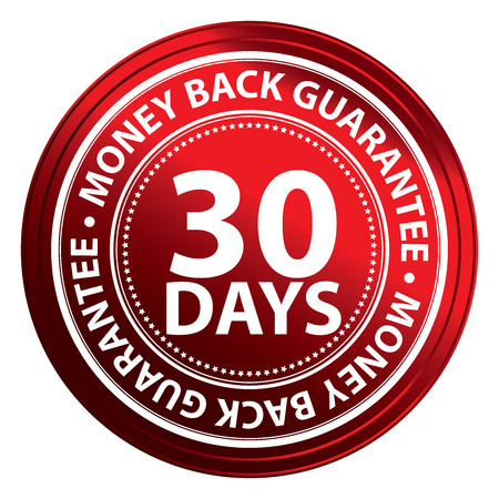 Red Circle 30 Days Money Back Guarantee Icon,Sticker or Label Isolated on White Background