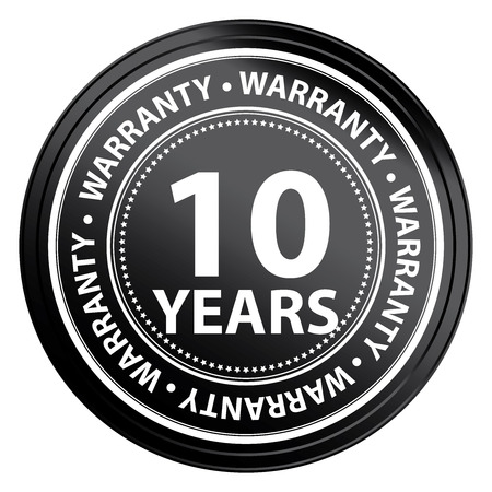 Black Metallic 10 Years Warranty Shield, Label, Sticker, Banner, Sign or Icon Isolated on White Background