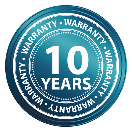Blue Metallic 10 Years Warranty Shield, Label, Sticker, Banner, Sign or Icon Isolated on White Background