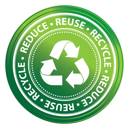 Green Metallic Style Reduce, Reuse and Recycle Icon, Badge, Label or Sticker for Save The Earth, Conservation or Recycle Concept Isolated on White Background