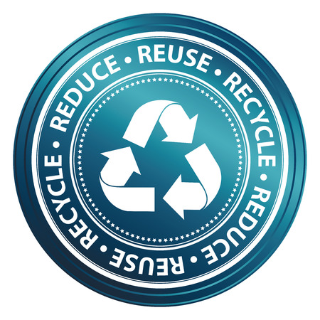 Blue Metallic Style Reduce, Reuse and Recycle Icon, Badge, Label or Sticker for Save The Earth, Conservation or Recycle Concept Isolated on White Background