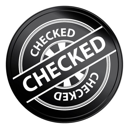 qc: Black Metallic Style Checked Icon, Badge, Label or Sticker for Quality Management Systems, Quality Assurance and Quality Control Concept Isolated on White Background