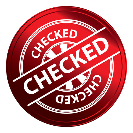 qc: Red Metallic Style Checked Icon, Badge, Label or Sticker for Quality Management Systems, Quality Assurance and Quality Control Concept Isolated on White Background