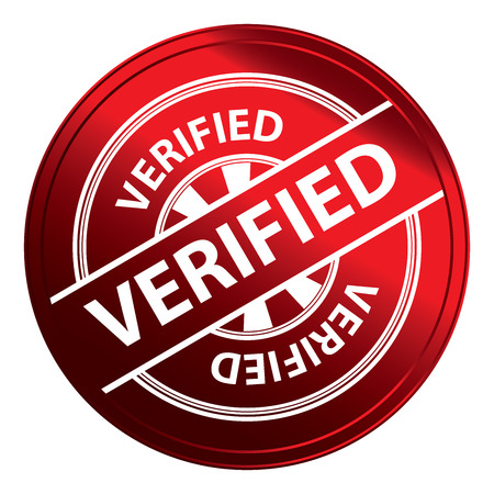 verified: Red Metallic Style Verified Icon, Badge, Label or Sticker for Quality Management Systems, Quality Assurance and Quality Control Concept Isolated on White Background