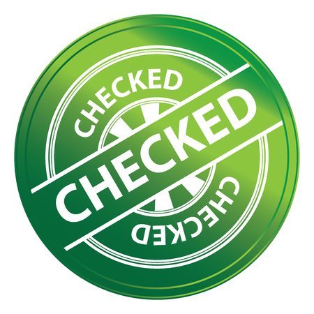 disapprove: Green Metallic Style Checked Icon, Badge, Label or Sticker for Quality Management Systems, Quality Assurance and Quality Control Concept Isolated on White Background Stock Photo