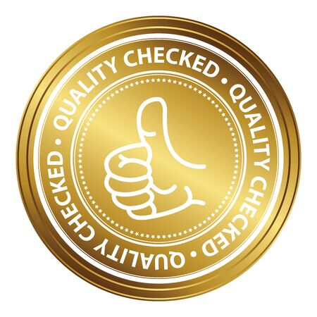 qc: Gold Metallic Style Quality Control Icon, Badge, Label or Sticker Isolated on White Background