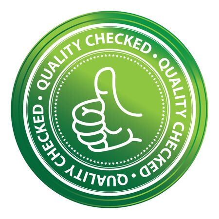 Green Metallic Style Quality Control Icon, Badge, Label or Sticker Isolated on White Background