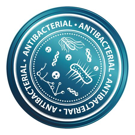 antibacterial: Blue Metallic Style Antibacterial Icon, Badge, Label or Sticker for Business, Healthcare, Medical or Wellness Concept Isolated on White Background Stock Photo